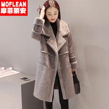 棉衣女中长款韩版2018新款冬季加厚加绒棉服修身鹿皮绒羊羔毛外套