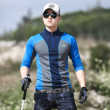 Outdoor stretch quick-drying clothes men's long-sleeved T-shirt fast-drying clothes men's color matching sunscreen, sweat absorption and breathable mountain climbing