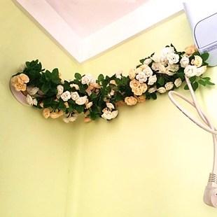 包邮仿真玫瑰花藤72头朵藤条藤蔓假花绢花空调管道室内婚庆装饰