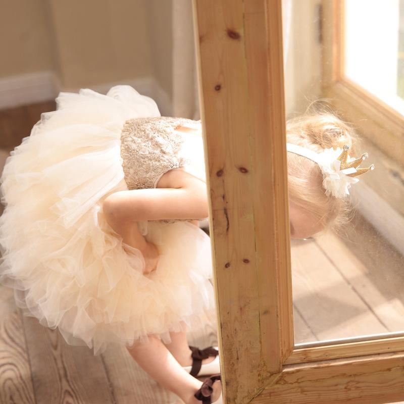 欧美高端童装女宝宝生日百天周岁礼服女童连衣裙网纱公主裙蓬蓬裙