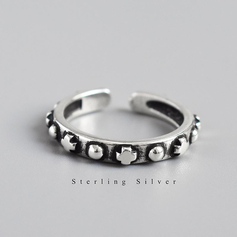 s925纯银戒指复古做旧圆点十字架指环INS韩国东大门个性女款银戒