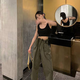 THESVN high-waisted workpants women cool handsome street 2019 summer new loose wide-legged casual nine-point pants