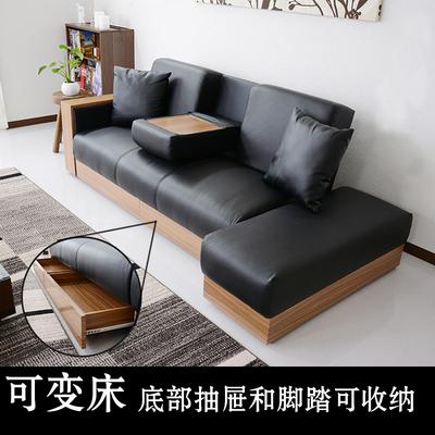 折叠沙发床多功能客厅pu皮小户型木质组合坐卧沙发和床两用可变床在哪买