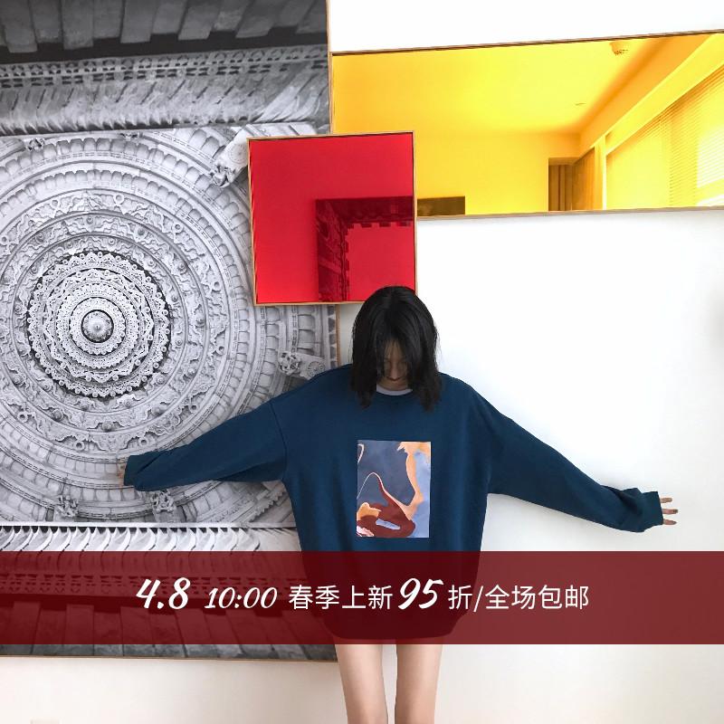 surblue卫衣女中长款2019春季新款印花套头圆领韩版宽松薄ins潮图片