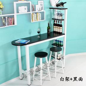 多功能家用美式吧台桌现代创意高脚桌客厅简约靠墙厨房多层置物架