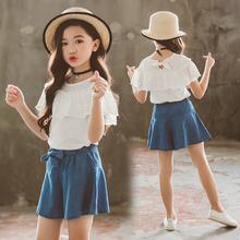 Summer dress 2019 new girl short sleeve T-shirt pure cotton white lace medium-sized and large children's half-sleeved shorts girl