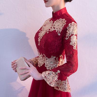 长袖敬酒服新娘2018新款秋冬季结婚旗袍晚礼服中式红色回门长款女