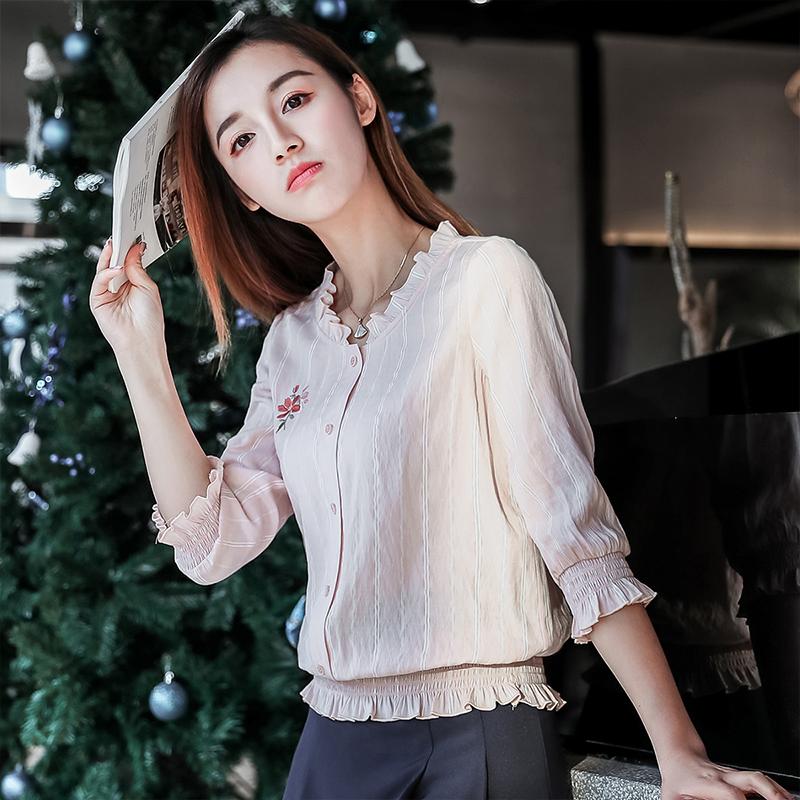 小圆领韩版衬衫