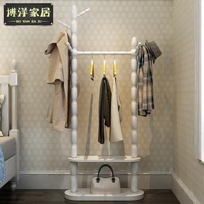 实木衣帽架欧式落地卧室挂衣架现代简约置物架组装客厅收纳大衣架