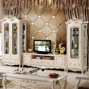 欧式客厅白色实木单门两门三门玻璃酒柜组合 法式双门酒柜 展示柜