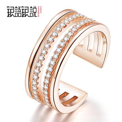 银语银说S925银戒指韩版女款 时尚四环仿钻戒指指环活口银饰品