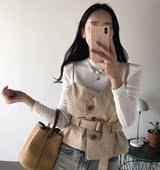 吊带马甲女 复古纯色外搭设计感搭扣系带收腰西装 韩国INS 秋季新款图片