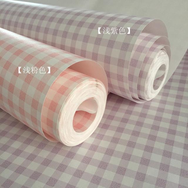 粉色英伦格子墙纸 女孩儿童房卧室书法卡通装修壁纸厂家墙纸
