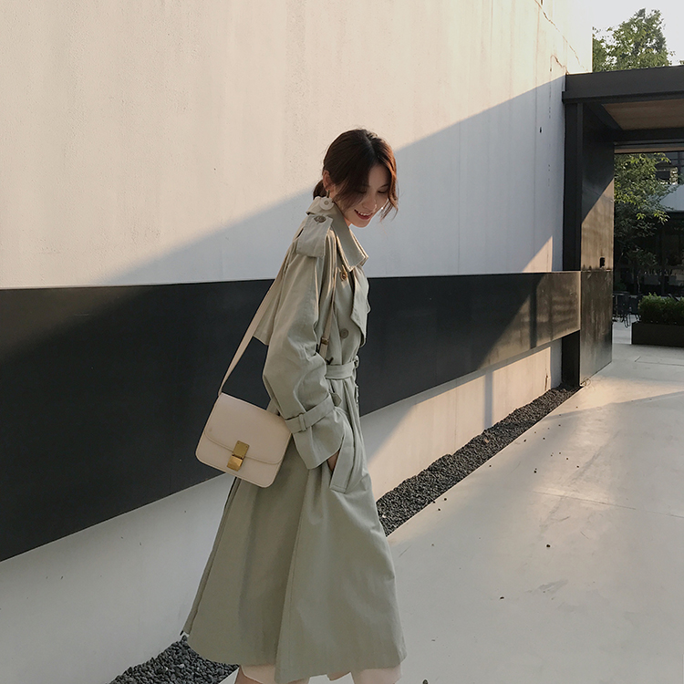 chic over the knee windbreaker ladies long section Korean version of the spring and autumn 2018 new