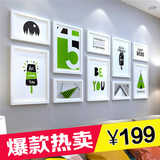 Simple modern living room photo wall decoration Photo frame wall European photo frame creative wall combination photo wall