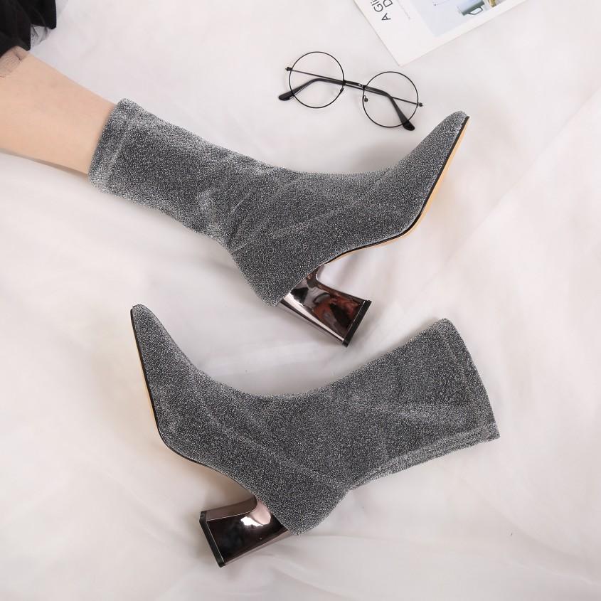 秋冬针织袜子靴弹力短靴尖头粗跟高跟中筒靴百搭显瘦短靴女裸靴潮