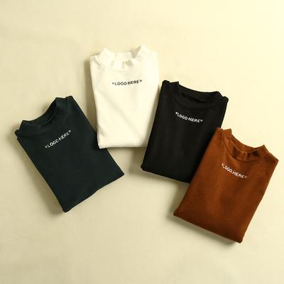 【五件五折】春季新款女装韩版修身纯色半高领刺绣字母长袖T恤KY