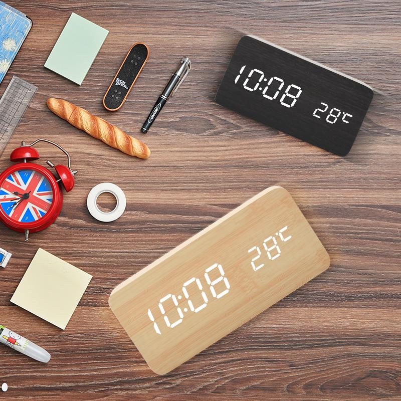 学生创意木质闹钟夜光静音卧室床头闹铃智能多功能个性时尚木头钟