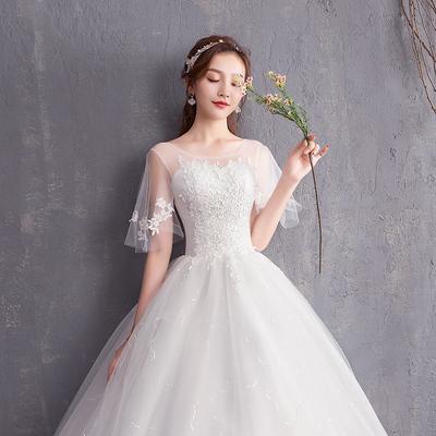 婚纱礼服2018新款新娘结婚一字肩婚纱礼服韩式显瘦齐地森系轻婚纱