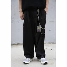 EVILKNIGHT 18ss 新款原创潮宽松复古裤链黑色灰色西裤休闲裤