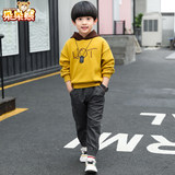 Boys 2019 autumn new children's long-sleeved hooded sweater in the big boy cotton tide section pullover shirt children's clothing men