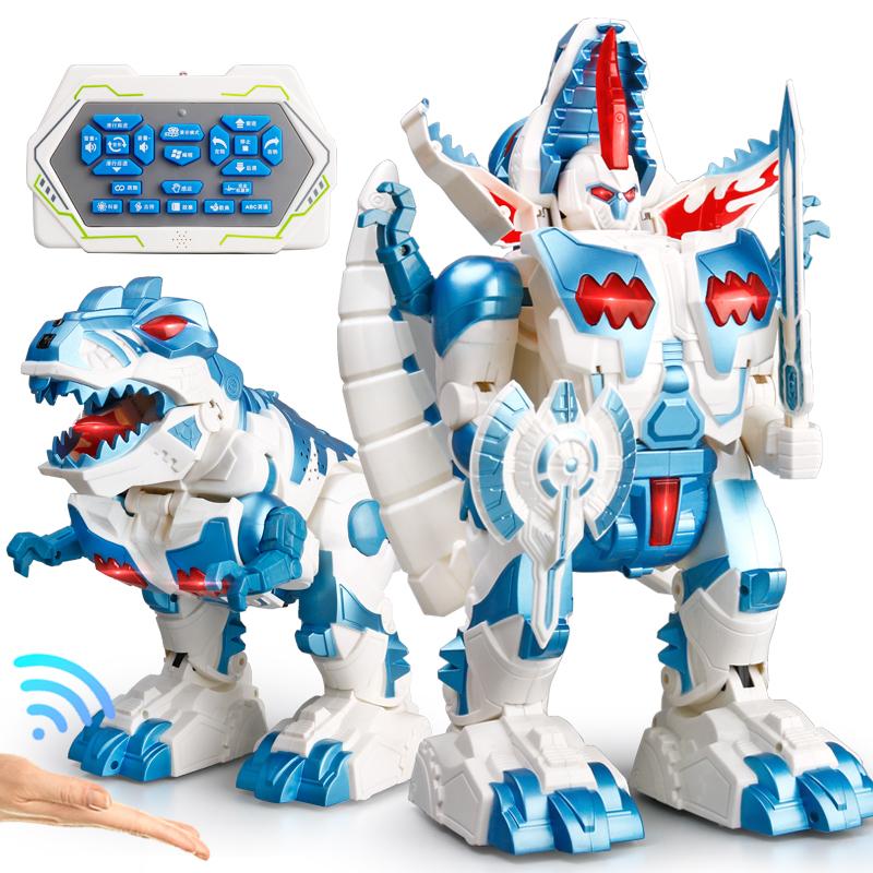 儿童遥控恐龙玩具电动霸王龙仿真动物模型男孩感应变形机器人金刚