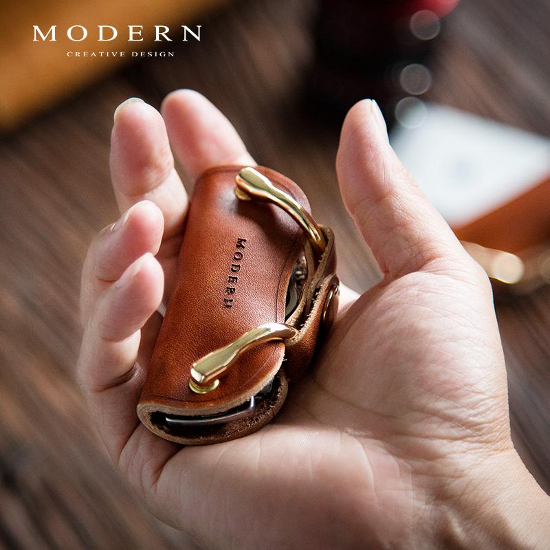 德国MODERN钥匙收纳包 牛皮钥匙包 复古创意钥匙收纳器真皮锁匙包