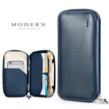 German Modern passport bag multi-functional wallet travel receipt document bag ticket clip leather hand bag
