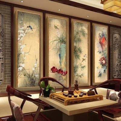 壁画梅兰竹菊