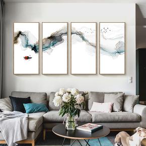 新中式客厅四联装饰画 沙发背景墙禅意水墨挂画 玄关餐厅现代壁画