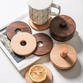 舍里 创意黑胡桃木实木隔热垫杯垫套装茶垫茶托功夫茶具配件杯托