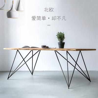 簡約設計師實木餐桌現代宜家風復古鐵藝長方形大型辦公桌會議桌