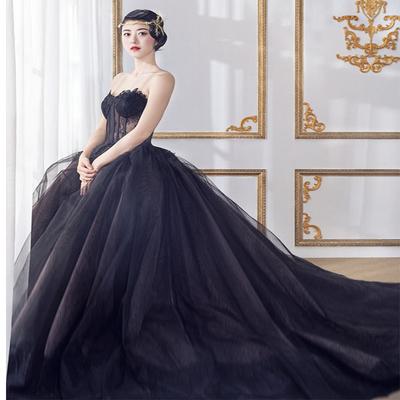 影楼主题个人写真摄影复古黑色婚纱礼服学生艺考独唱走秀表演服装
