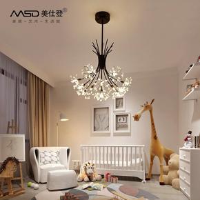 北欧温馨卧室吊灯 现代简约客厅餐厅创意艺术铁艺水晶花朵LED灯具