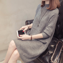 Half-high collar mid-long style knitted sweater at special price every day in autumn and winter, new loose Korean version of pure-color Pullover Sweater and women's knitted sweater