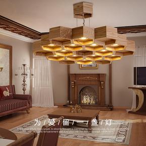 创意吊灯客厅木艺蜂巢北欧家居LED灯具个性酒店装修实木餐厅吊灯