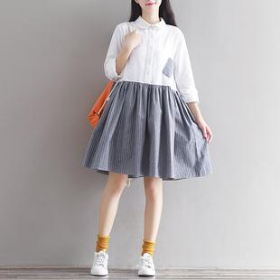 森女系秋装新款文艺拼接长袖连衣裙棉麻条纹娃娃领A字裙假两件套