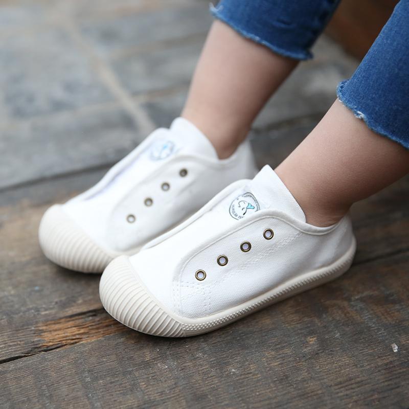 儿童帆布鞋2019新款韩版小白鞋一脚蹬女童男童幼儿园室内宝宝布鞋