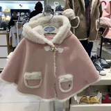 Small and medium girls baby Korea TC chocolate fur one cape plus velvet thickening hooded pink shawl coat