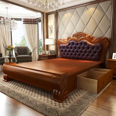 雕花双人床婚床图片