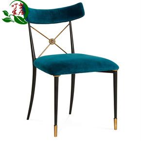 金属餐椅铁艺软包椅子单人椅设计师休闲靠背椅金色化妆椅定制家具