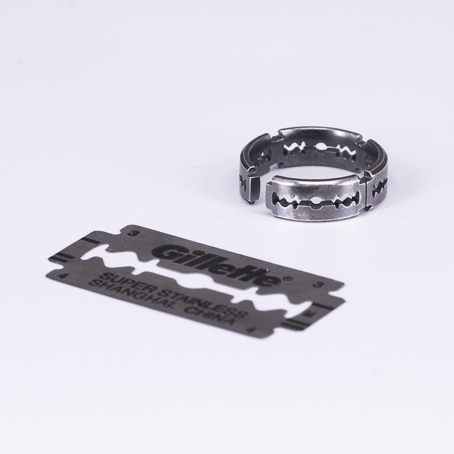 原创设计925纯银剃须刀片戒指男女尾戒食指个性创意送礼物图片