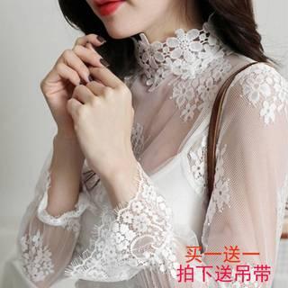 毛衣内搭女中领打底衫高领网纱薄款蕾丝秋冬时尚洋气宽松欧货小衫