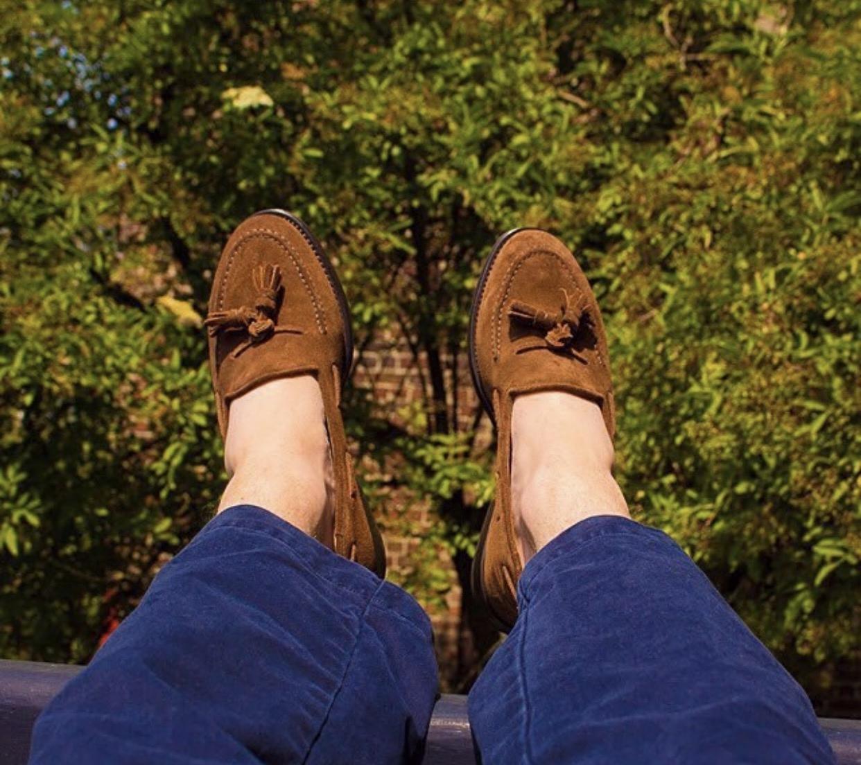 牛反绒流苏鞋