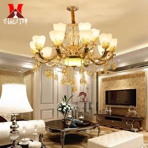 欧式田园客厅水晶吊灯简约创意书房餐厅灯复古别墅卧室锌合金灯