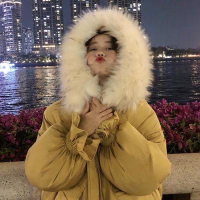 毛领棉衣女冬2018新款韩版宽松百搭荷叶边面包服连帽棉服棉袄外套