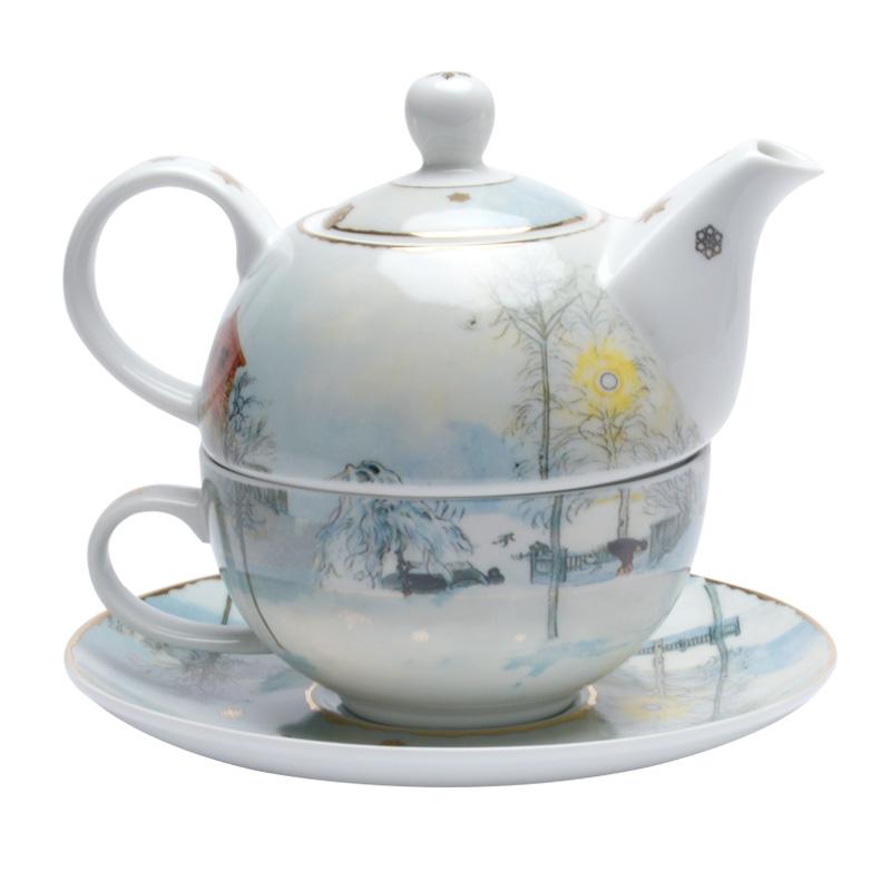 德国高宝Goebel进口陶瓷茶壶套装 创意组合茶具套装《雪景》