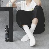 原宿纯色黑白灰毛圈中筒男女袜子日系港风潮牌百搭简约毛巾底长袜