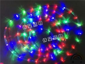 伟星 厂家直销LED灯带圆二线自动闪 防水灯条 彩虹管 霓虹灯 彩色