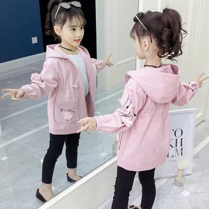 女童春装外套2019新款潮儿童装女大童春秋中长款韩版风衣洋气女孩